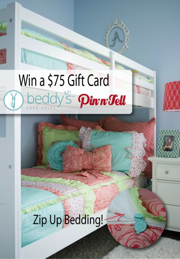 #Win the Beddy's Zip-Up Bedding Giveaway. Making your bed with ease one zip at a time @beddysbeds @pinntell