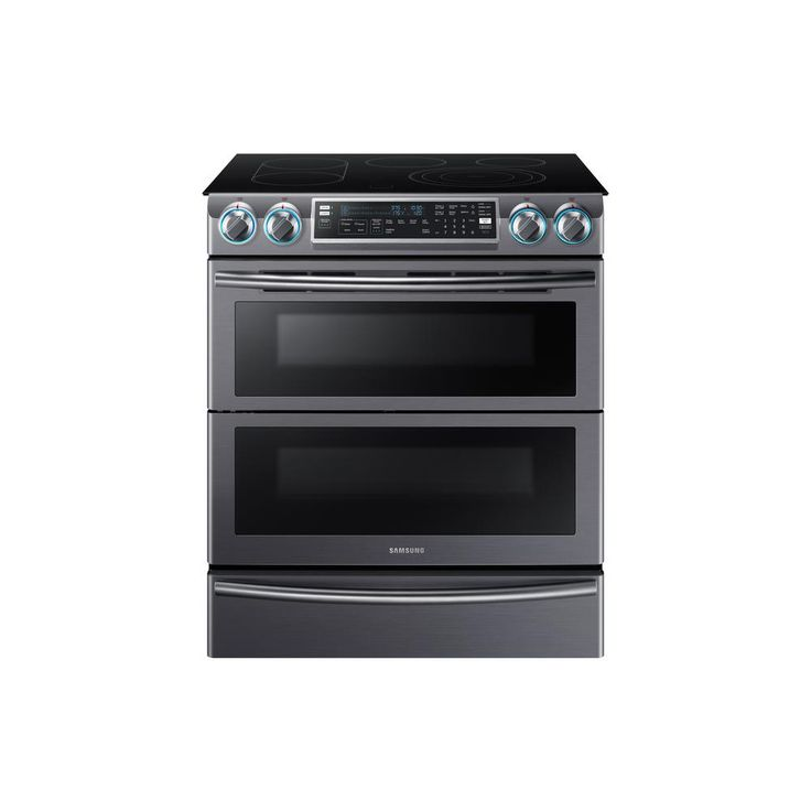 Samsung Flex Duo 5.8 cu. ft. Slide-In Double Oven Electric Range with Self-Cleaning Convection Oven in Black Stainless Steel-NE58K9850WG - The Home Depot