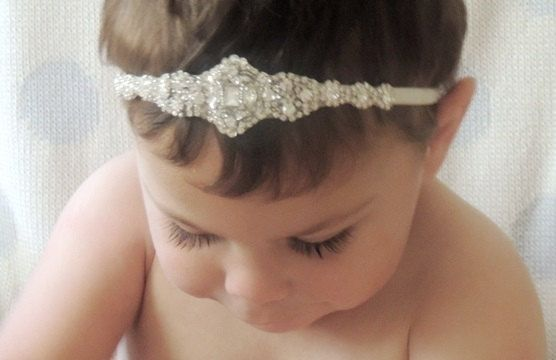 Baby girl christening headpiece flower girl by Tatishotties, $60.00