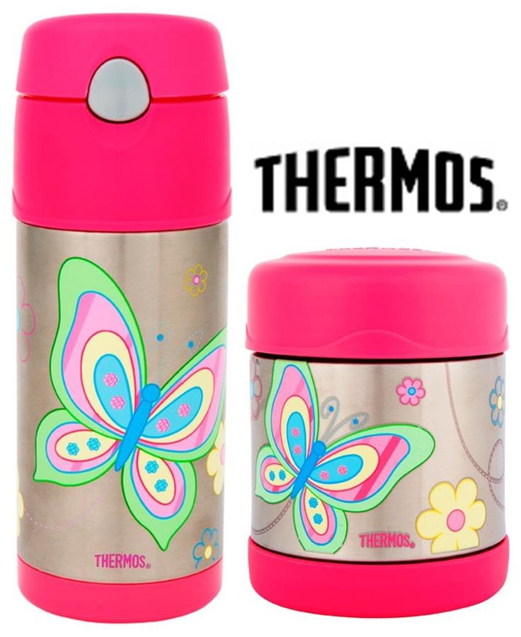 NEW THERMOS FUNTAINER FOOD CONTAINER + DRINK BOTTLE Insulated BUTTERFLY