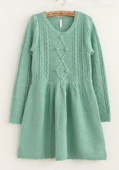 Green Falbala Long Sleeve Wool Blend Dress