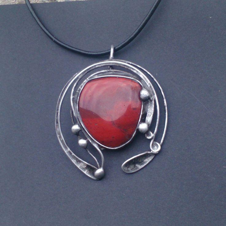 Metal necklace with Gemstone Jasper . Pendant is handmade.Tiffany technique, Healing Stone, jewellery . by Helenamode on Etsy
