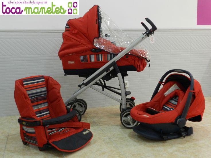 Carro Bebecar Reversus de 3 piezas de segunda mano en perfecto estado. En color rojo. PVP TocaManetes:250 €.