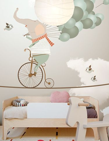 Déco murale enfant, kid's room wall deco | The wallpaper can be ordered in various sizes. We are like tailors, the wallpaper will fit perfectly on your wall, you just have to give us the measures you need!