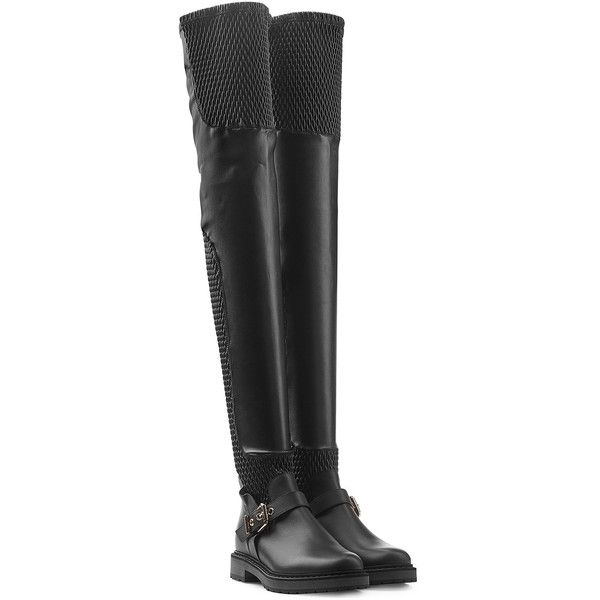 Fendi Thigh-High Leather Boots (4.125 BRL) ❤ liked on Polyvore featuring shoes, boots, black, black thigh high boots, over-the-knee leather boots, black pointed boots, genuine leather boots and woven leather boots