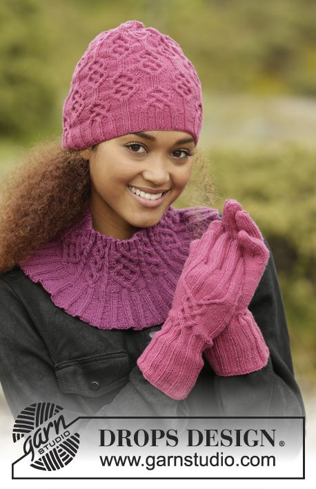 Vadelma set consisting of hat, cowl and gloves by DROPS Design. Free #knitting pattern