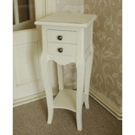 Small wooden cream bedside table