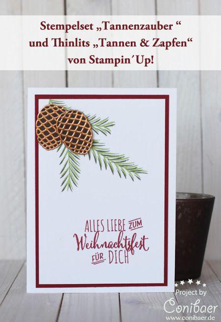 www.conibaer,de Selbstgemachte Weihnachtskarte mit Tannenzweigen und…