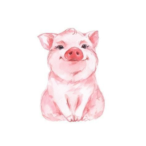 Funny Pig Cute Watercolor Illustration 1by Gribanessa In