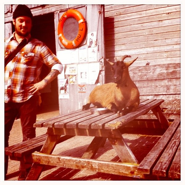 Isaac Brock and a goat... I love this man. Ultimate inner style.