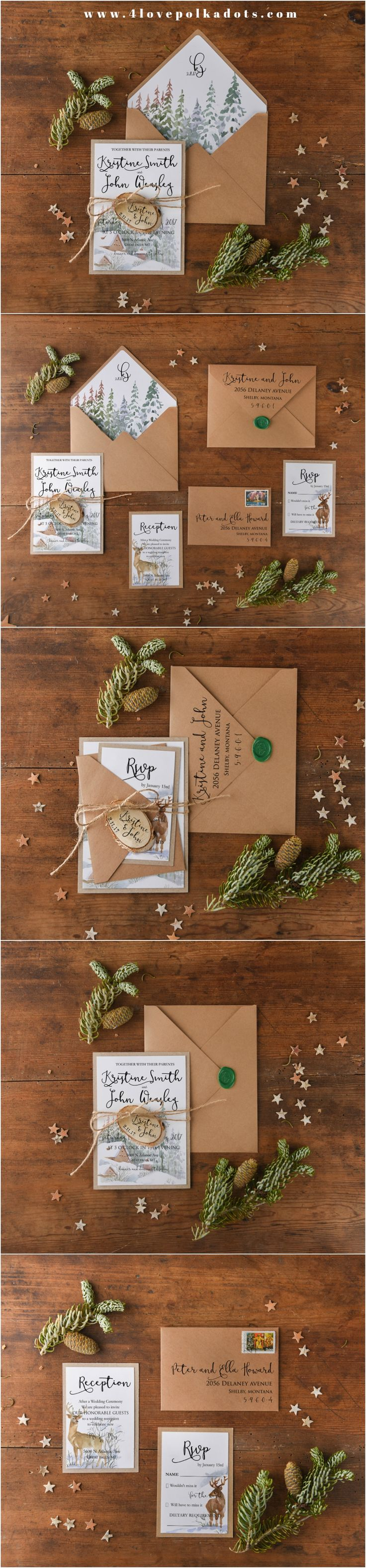 Rustic Kraft Paper Winter Wedding Invitations with wooden tag #rustic #whimsical #winterwedding #romanticwedding