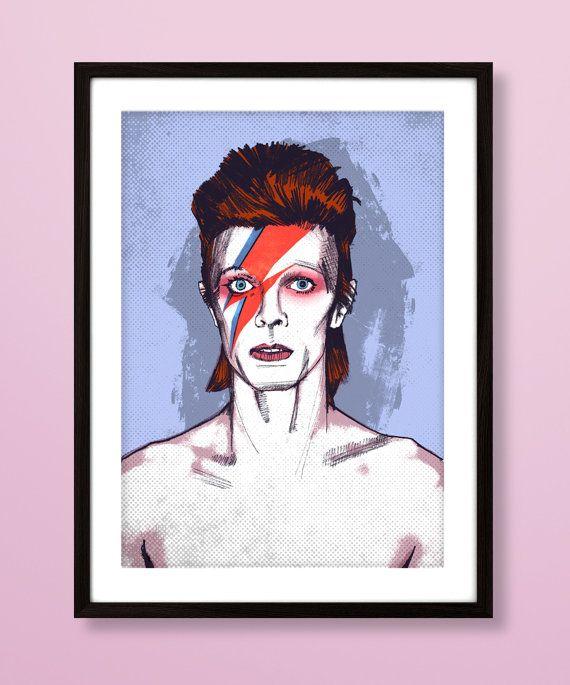 Portret van David Bowie, David Bowie kunst afdrukken, muziek geïnspireerd afdrukken, Bowie afdrukken, Ziggy Stardust, David Bowie, vintage Bowie poster