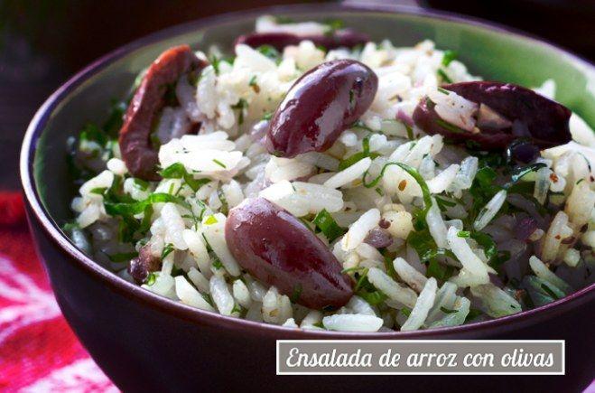 Ensalada de arroz con olivas