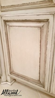 """Cream Cabinets with a Glaze"""" ….. instead of the sanding block, just use a metal file on your edges to get this exact look.  The sanding block just will not get deep enough into the wood to look this distressed."""