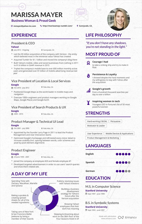 Hereu0027s A Résumé For Marissa Mayer: Would You Hire Her? Resume LayoutResume  IdeasDesign ResumeCv IdeasOne Page ...