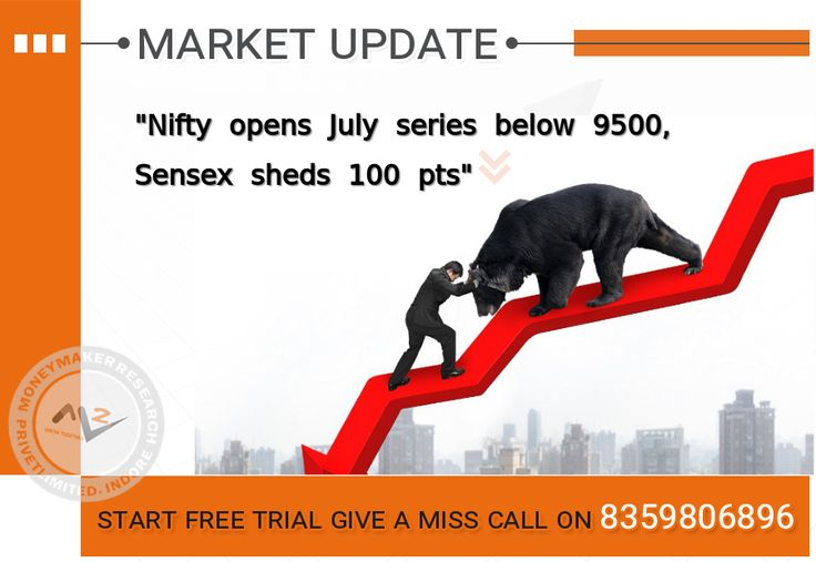 The market started off July series on a weak note, with the Nifty falling below 9500 level on weakness in banks stocks. The 30-share #BSE #Sensex was down 115.22 points at 30,742.30 and the 50-share #NSE #Nifty slipped 37.20 points to 9,466.90. Asian Paints, Tech Mahindra, Tata Motors, Tata Motors DVR, HDFC, HDFC Bank and Kotak Mahindra Bank were under pressure while Bank of Baroda and Sun Pharma gained in early trade. #MoneyMakerResearch