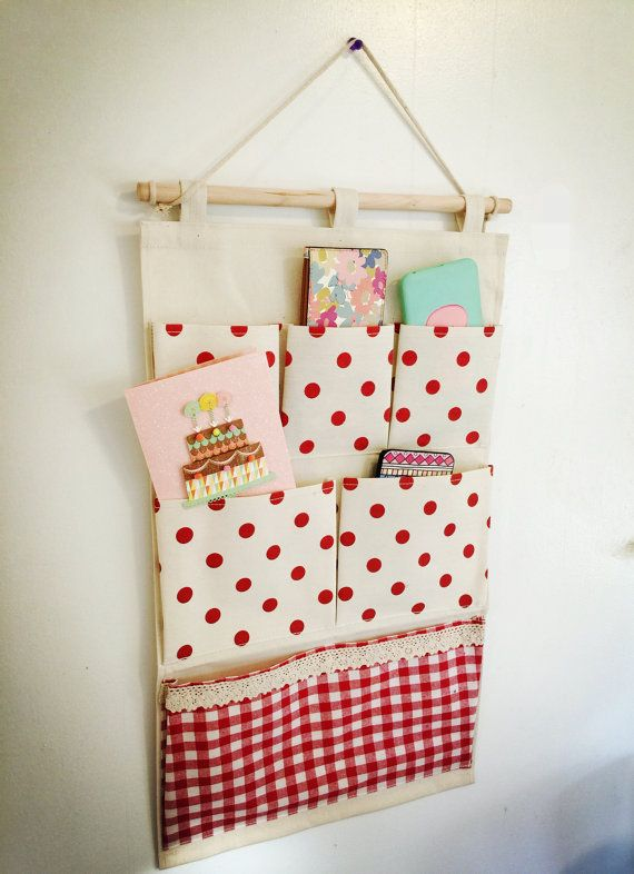 Wall or door fabric pocket hanging organizer by EvilBestie on Etsy