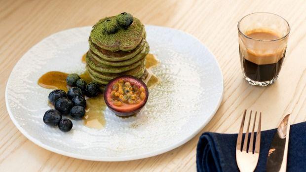 Matcha buckwheat pancakes from True Food and Yoga