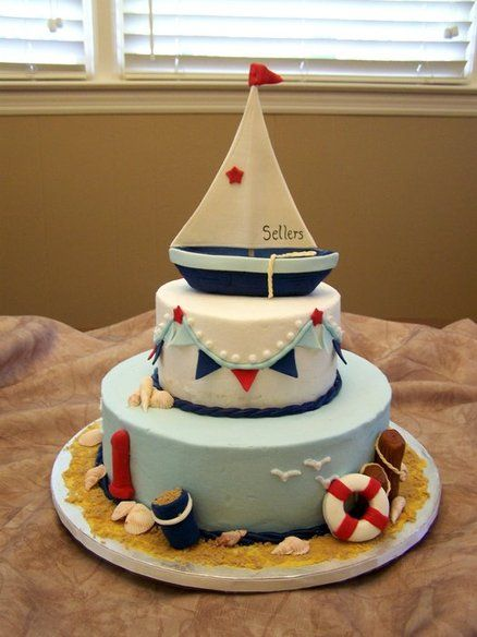 Nautical Cake, I LOVE the Sailboat topper, banner and life preserver