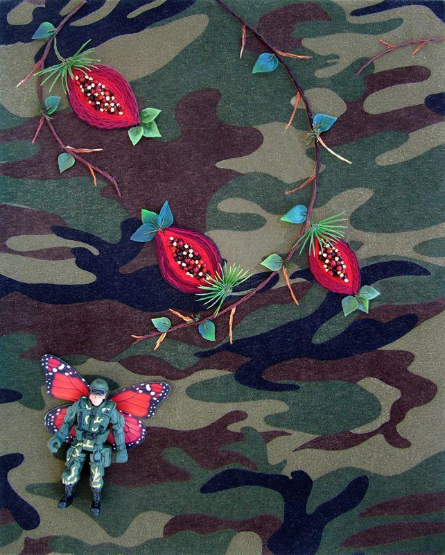 Tulpas' Tree 1 | Fábio Carvalho |   tecido estampado, bordado à mão, miçangas, folhas, boneco e asas de borboleta de plástico    |   printed fabric, hand made embroidery, beads, plastic toy soldier, butterfly wings and leaves   | 2017 | 41 x 33 x 7 cm