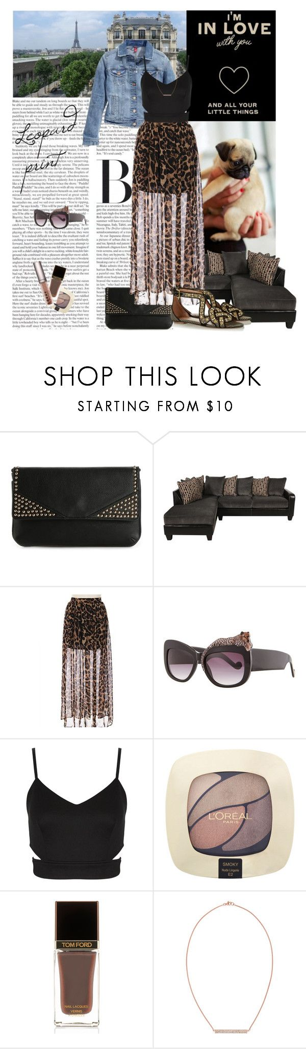 """Leopard print"" by amethystes ❤ liked on Polyvore featuring Melie Bianco, Anna-Karin Karlsson, L'Oréal Paris, Tom Ford, Rebecca Minkoff, LORAC, denim, croptop, Clutch and maxiskirt"