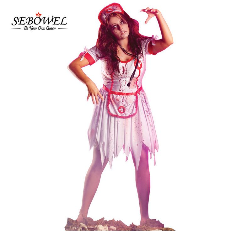 SEBOWEL 3PCS Women Naughty Sexy Nurse Costumes 2017 Nursing Uniforms Horrible Zombie Nurse Costume LC8967 for Halloween Costumes