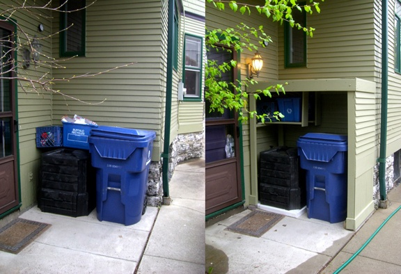 Hiding the big blue garbage can, compost bin and recycling boxes.