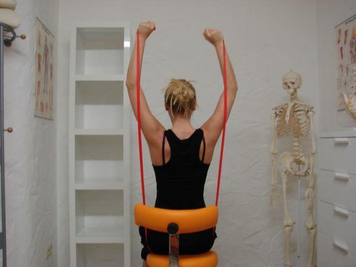 Atlasgelenk Übungen mit dem Theraband helfen zur Stabilisierung und Kräftigung des Atlasgelenk und der Schulter- Nackenmuskeln nach einer Atlaskorrektur.