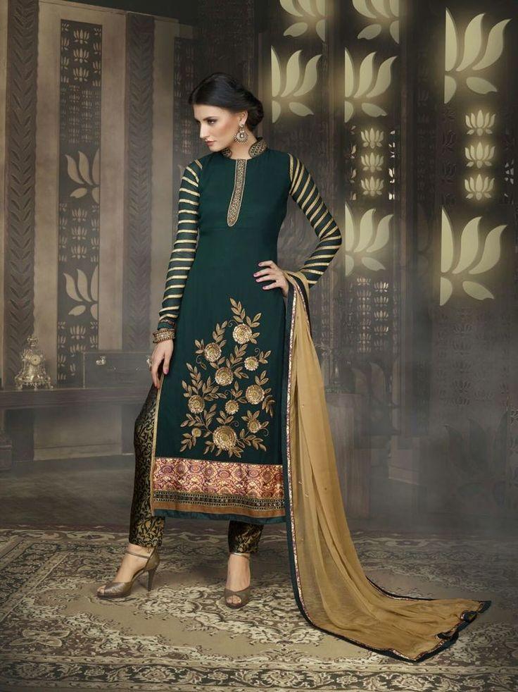 INDIAN SALWAR KAMEEZ SUIT PAKISTANI EMBROIDERY DESIGNER ETHNIC DRESS MATERIAL_5