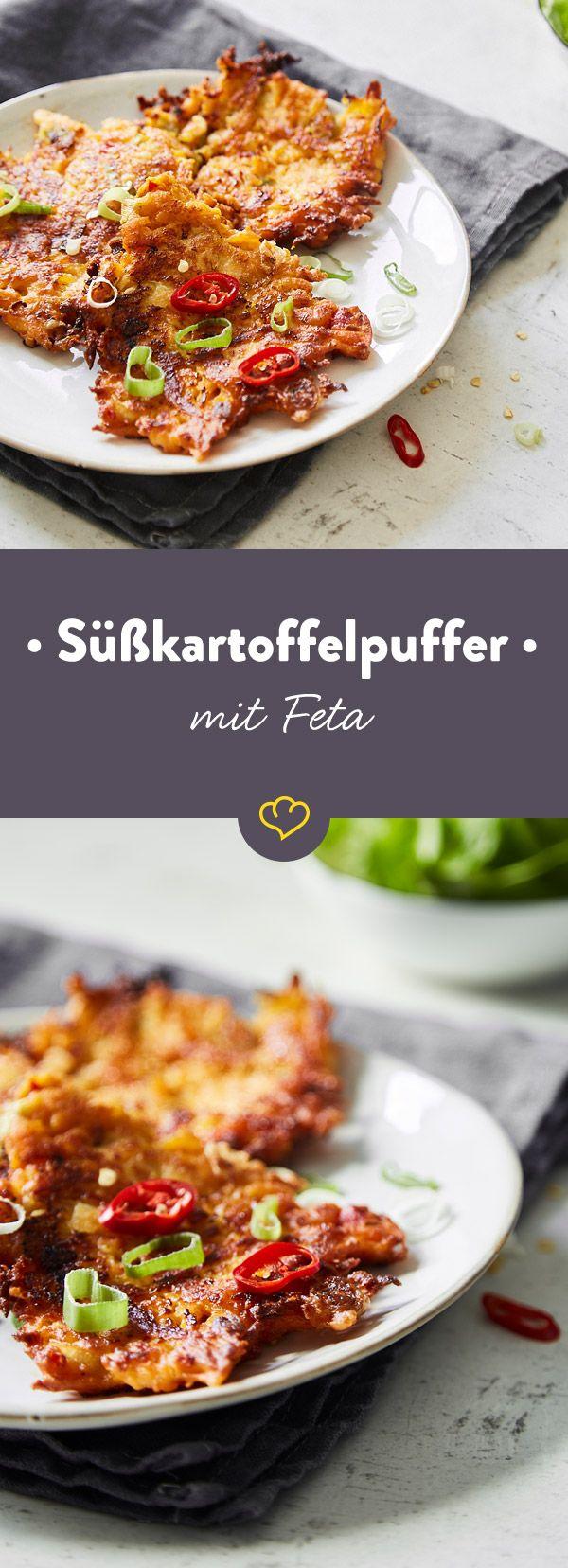 Mach das Beste aus deinem Feierabend. Und Süßkartoffeln. Und Feta - Bereite dir diese köstlichen Puffer zu, die perfekt mit einem grünen Salat schmecken.