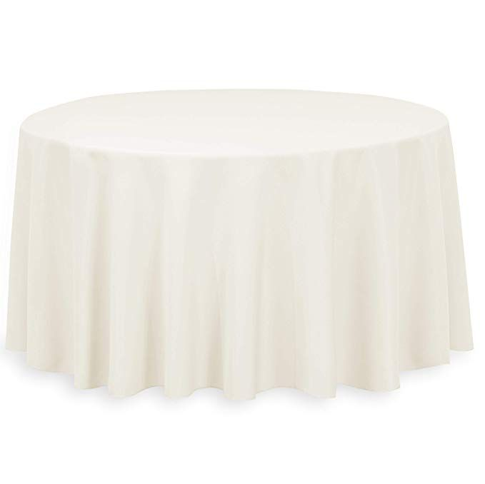 Linentablecloth 120 In Round Economy Polyester Tablecloth Ivory With Images Table Cloth Circular Table Affordable Table