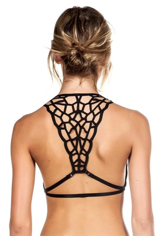 * Laser cut away bralette * Available in white and black