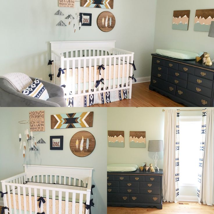 Aztec nursery design, custom nursery, gender neutral nursery, hand made art, Aztec baby bedding, custom curtains