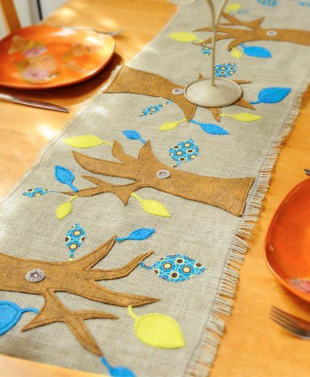 Easy sew table runner using fabric scraps. Fall table runner you can sew with ease.