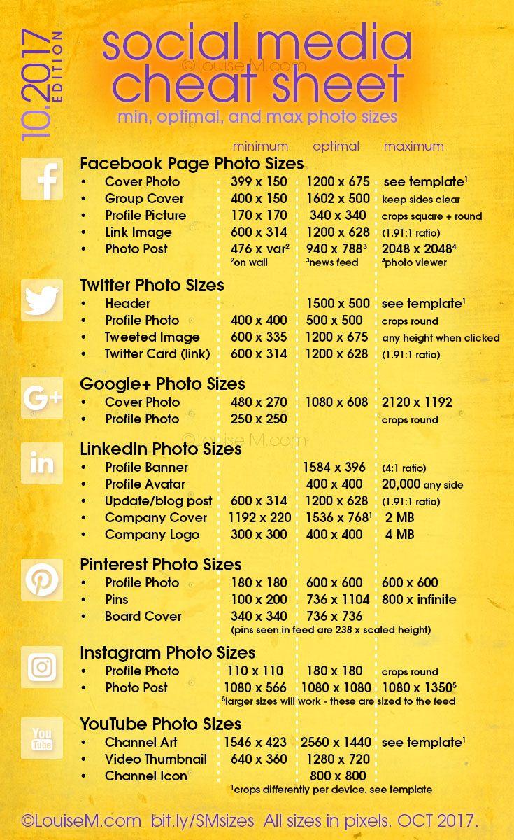 Updated September 2017! Social Media cheat sheet with image sizes for Facebook, Twitter, Google+, LinkedIn, Pinterest, Instagram, YouTube. Get a free printable!
