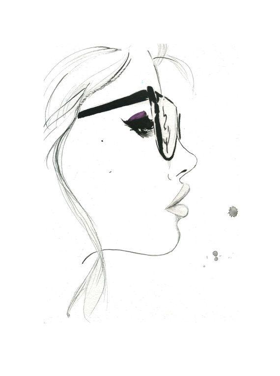 Quella ragazza Nerdy, stampa da originale illustrazione moda acquerello e penna di Jessica Durrant