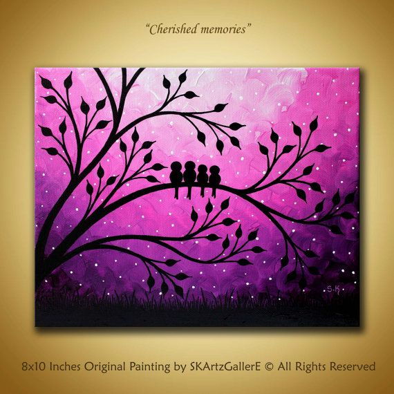 Original birds Painting Family birds artwork Purple Canvas art Pink birds decor…
