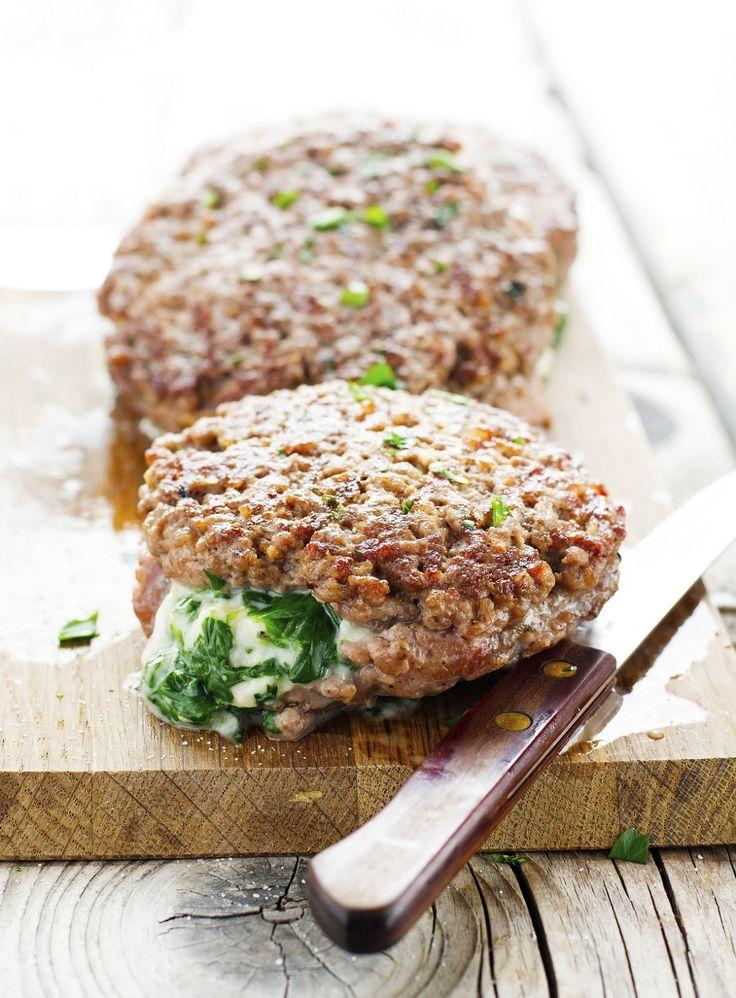 Gonna use ground turkey or chicken!  Spinach-Mozzarella Stuffed Burgers