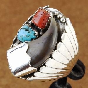 Navajo Indian Bear Claw Sleeping Beauty Turquoise Coral Sterling Silver Ring Size 10 to 15  If you are looking for the real thing you just found it, Navajo Indian Bear Claw Sleeping Beauty Turquoise Coral Sterling Silver Ring Size 10 to 15, http://nativeamericanstuff.net/Native%20American%20Stuff-Native%20American%20Made%20Rings.htm