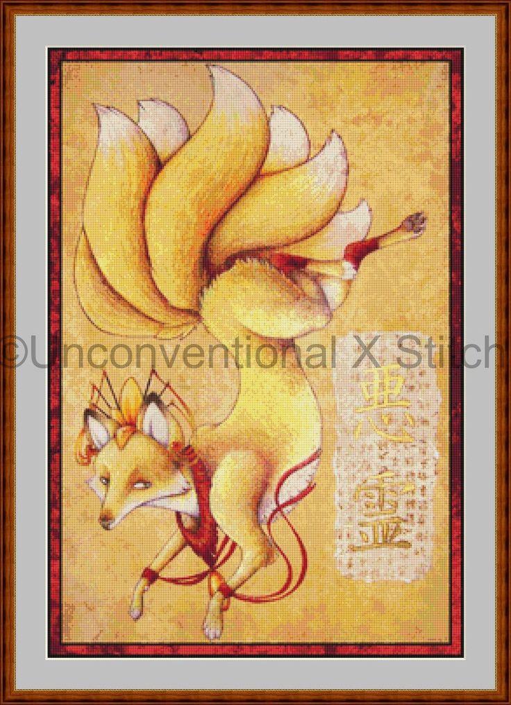 Kitsune fox cross stitch pattern by UnconventionalX on Etsy