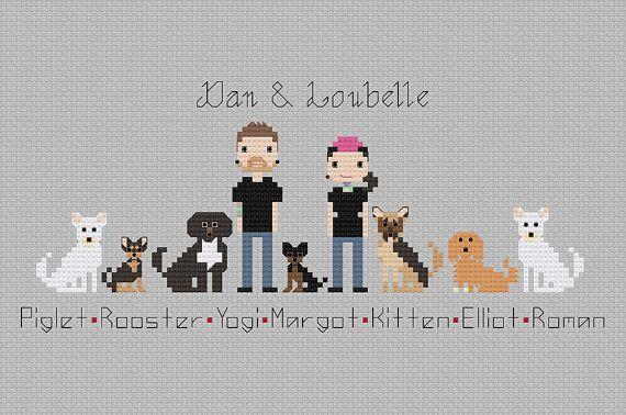 Personalised Custom Family Portrait Wall Art - Personalised Mens Womens Gift - Custom Pet Portrait - Cross Stitch Pixel People Art