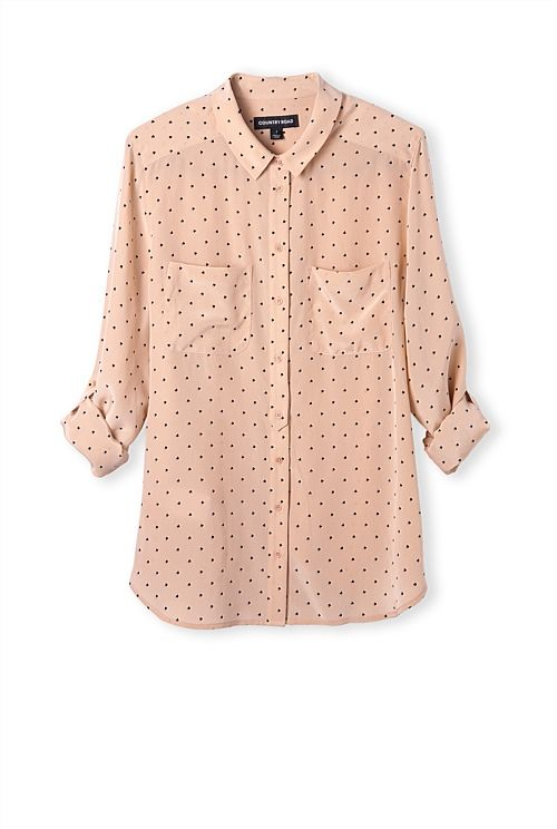 Heart Print Silk Shirt. Not in this blush but in black. Just unbutton.
