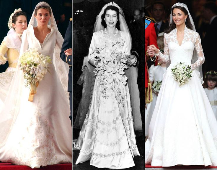 Royal wedding dresses through the years - from Queen Elizabeth II to Kate Middleton.