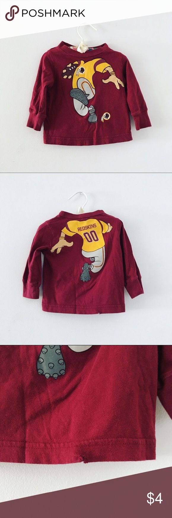 Washington Redskins 12 Months Baby Shirt Good condition Flaw shown in 3rd Size: 12 Months Take a look at my closet to bundle & save on baby clothes Cross posted on Mercarí NFL Shirts & Tops Tees - Long Sleeve