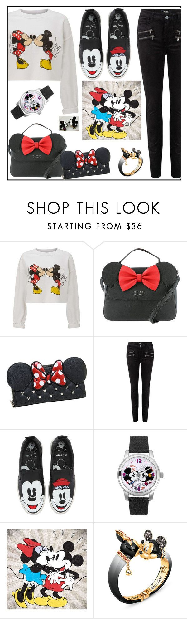 """""""New Disney Sets"""" by tlb0318 on Polyvore featuring Miss Selfridge, Loungefly, Paige Denim, MOA Master of Arts, Disney, Artissimo and The Bradford Exchange"""