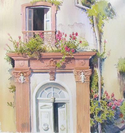 Puertas de Valparaíso. Acuarela 60 x 60 cm.