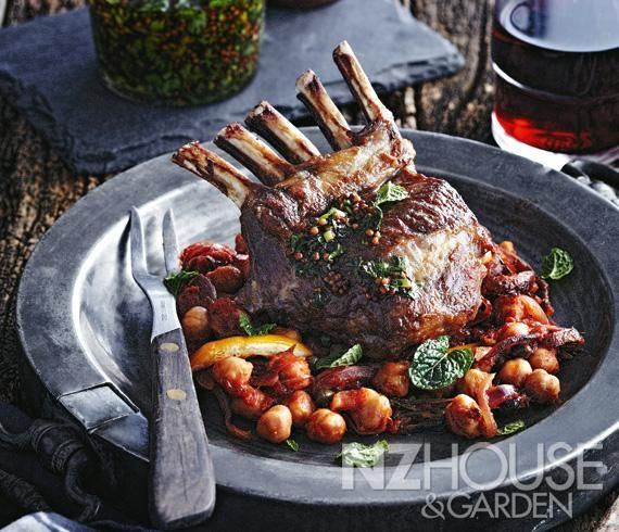 Pan-roasted Lamb Rack with Chickpeas, Tomato, Capers and Preserved Lemon
