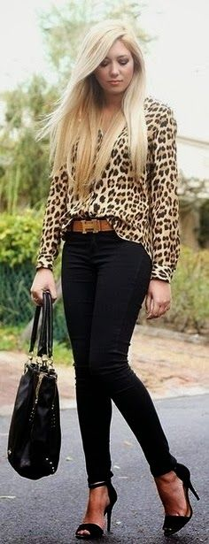 Stylish leopard printed shirt | Fashion World; pass on the heels...I'd break my ankle trying to teach in those!!