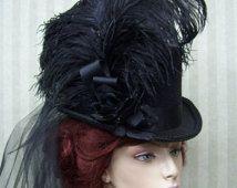 Zwarte hoge hoed Steampunk hoge hoed Halloween cilinderhoed Victoriaanse cilinderhoed Dickens Festival cilinderhoed bruiloft hoed
