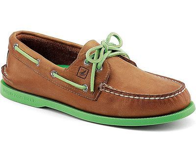 The Classic A/O 2 Eye Authentic Original Boat shoe with a pop of color.  Genuine hand sewn construction, full leather uppers with non-marking sipped  rubber ...
